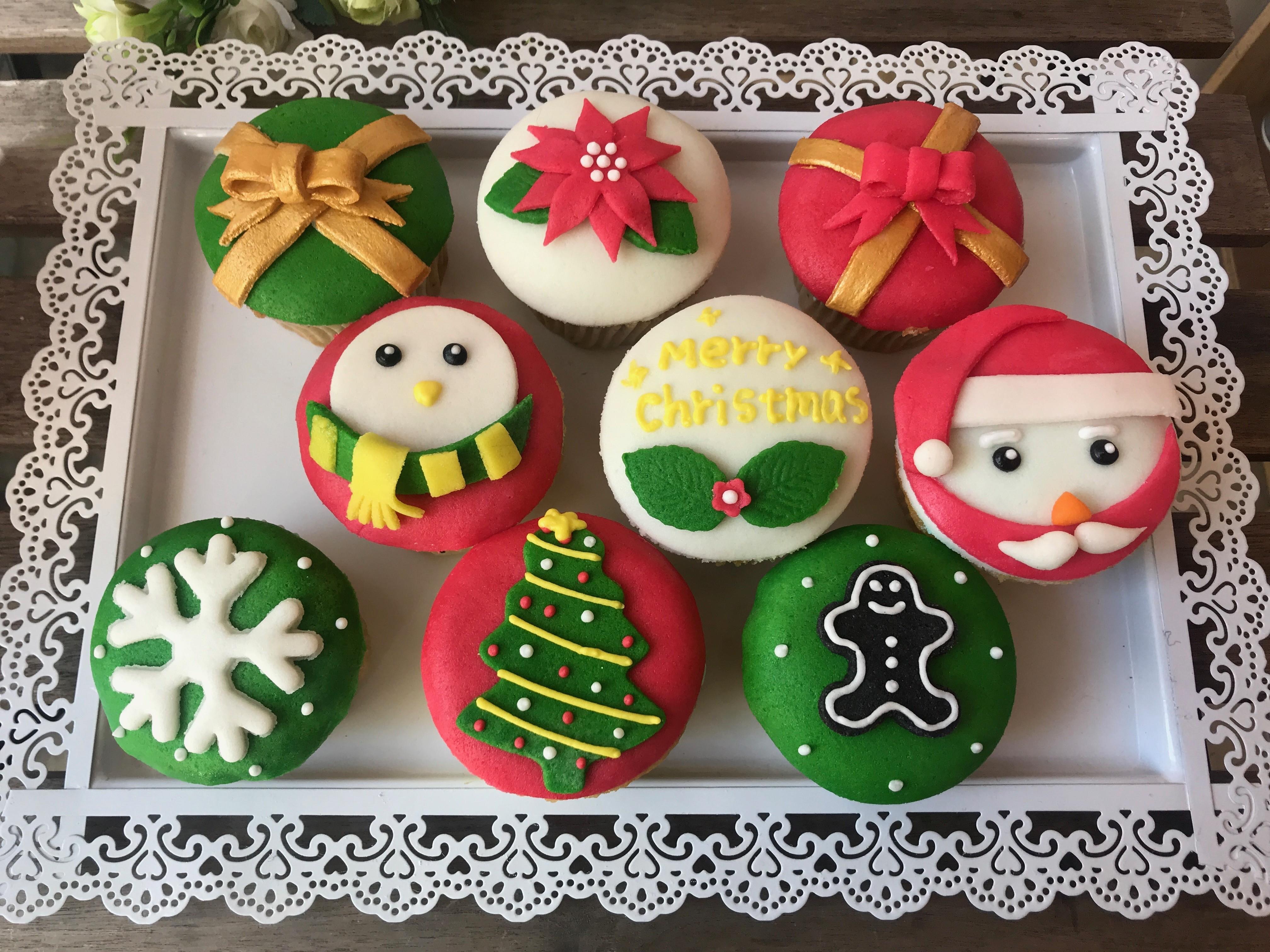 聖誕節造型翻糖杯子蛋糕~9入組