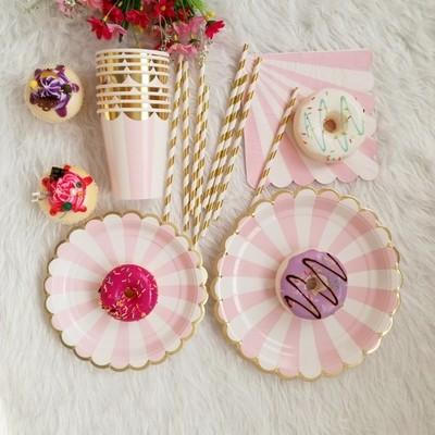 金邊條文 派對 餐盤杯具組8人組 一次性使用 甜點 野餐 宴會 8色可選