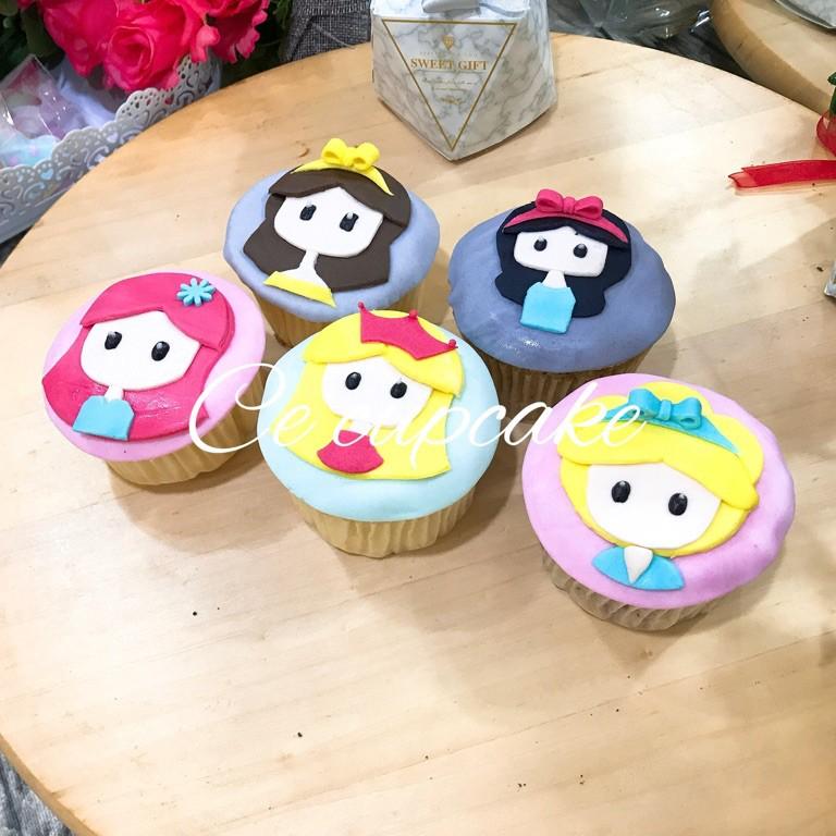公主系列平面 杯子蛋糕 5顆組