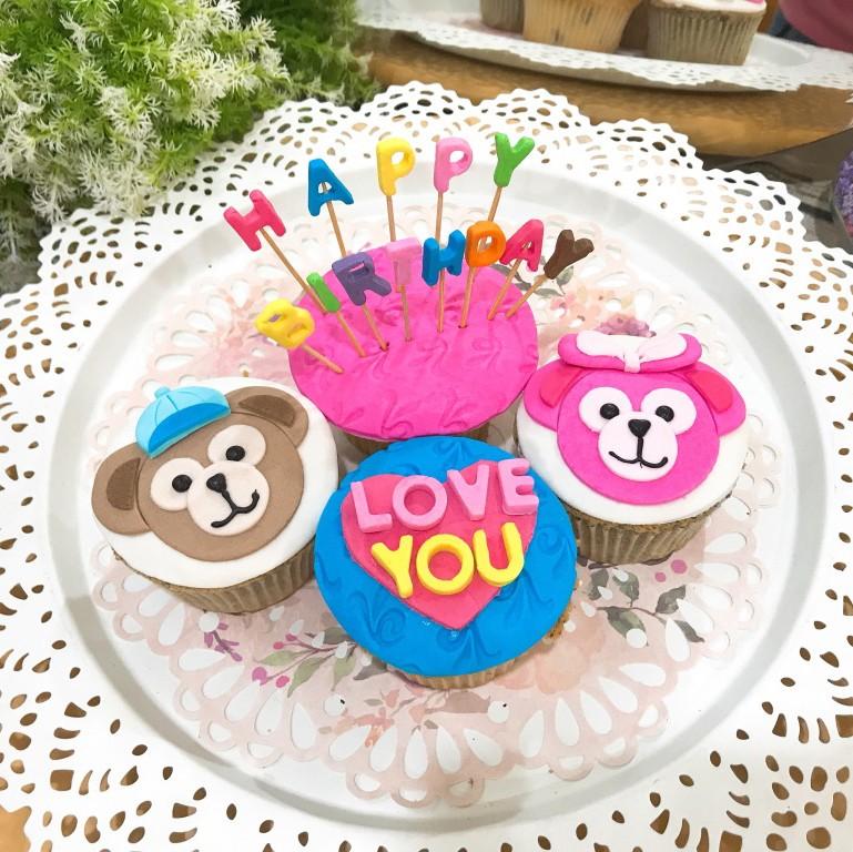 達飛熊 生日插旗 杯子蛋糕組 4顆組