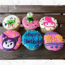 青蛙 兔兔 生日翻糖杯子蛋糕組 6入