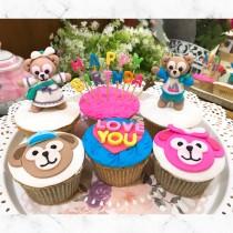 立體達飛熊 生日插旗 組合杯子蛋糕6入
