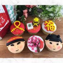 新年 童孩 恭喜發財 翻糖蛋糕 6入禮盒組
