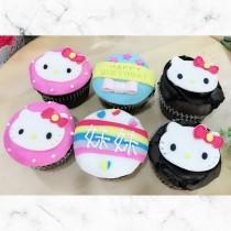 kitty平面 生日杯子蛋糕 6顆組