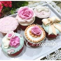 奢華花朵綻放 翻糖杯子蛋糕 6入組