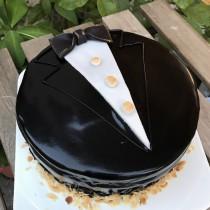 父親節領帶 黑巧克力 8吋鏡面蛋糕