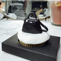 黑色柏金包 單顆 立體 翻糖杯子蛋糕